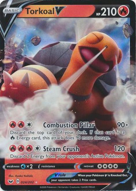 Pokemon Sword & Shield Base Set Ultra Rare Torkoal V #24