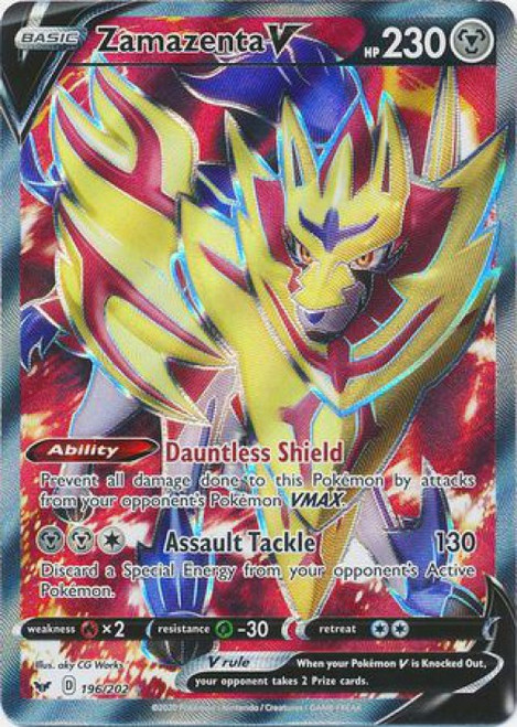 Pokemon Sword & Shield Base Set Ultra Rare Zamazenta V #196