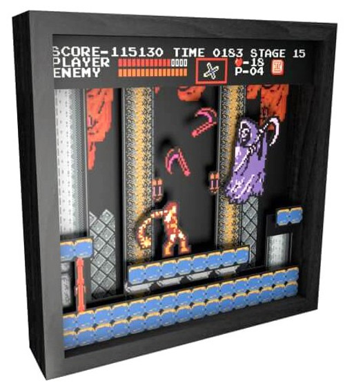 "Pixel Frames Castlevania Shadow Box Art [9"" x 9""]"
