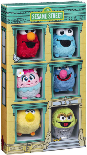 Sesame Street 50th Anniversary Collector Set Elmo, Cookie Monster, Big Bird, Grover, Abby Cadabby & Oscar the Grouch Micro Plush 6-Pack