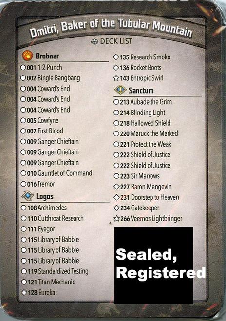 KeyForge Age of Ascension Dmitri, Baker of the Tubular Mountain Archon Deck [Registered] [Coward's End x3, Ganger Chieftain x3, Archimedes, Doorstep To Heaven, Gatekeeper, Eureka!] [Mint Unopened]