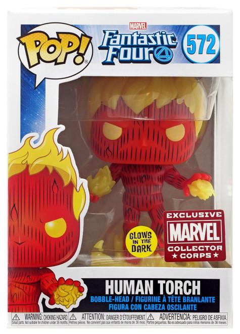 Funko Fantastic Four POP! Marvel Human Torch Exclusive Vinyl Figure [Glow-in-the-Dark]