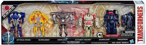 Transformers The Last Knight Reveal the Shield Optimus Prime, Bumblebee, Grimlock, Hound, Barricade & Megatron Exclusive Action Figure 6-Pack [Damaged Package]