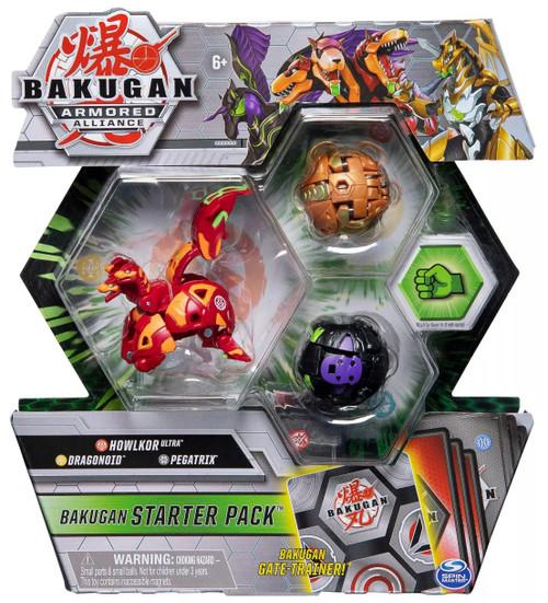 Bakugan Armored Alliance Starter Pack Howlkor Ultra, Dragonoid & Pegatrix 3-Figure Set