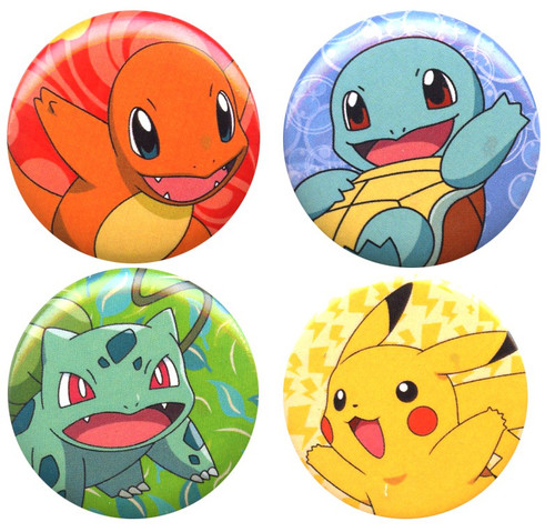 Funko Pokemon Charmander, Pikachu, Squirtle & Bulbasaur Exclusive 1-Inch Button 4-Pack