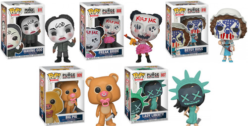 Funko The Purge Anarchy POP! Movies The Waving God, Lady Liberty, Betsy Ross, Freak Bride & Big Pig Vinyl Figure [Set of 5]