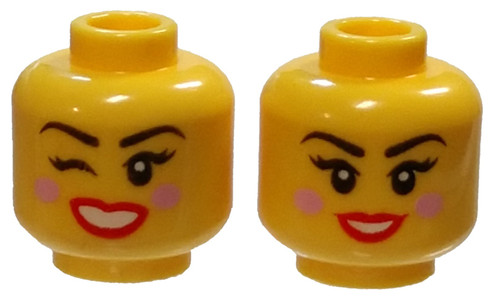 Bright Pink Blush, Red Lips, Smiling / Winking Right Eye Minifigure Head [Dual Sided Loose]
