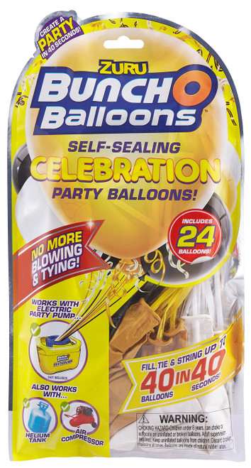Bunch O Balloons 24-Pack [Black, Gold & White]