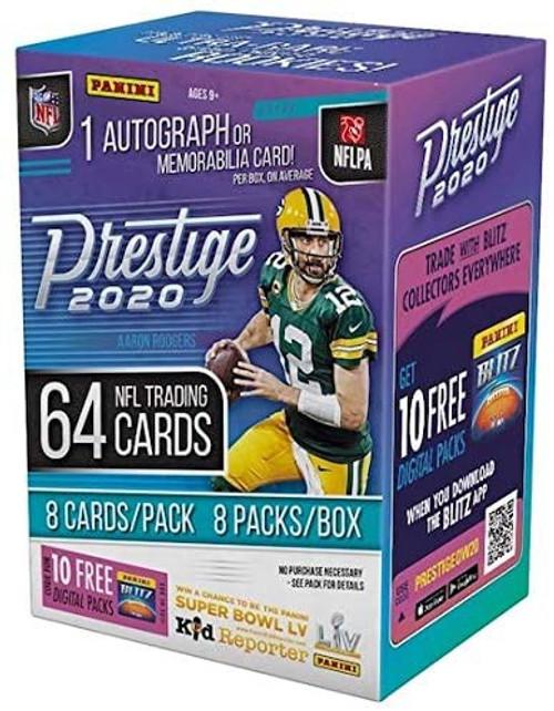 NFL Panini 2020 Prestige Football Trading Card BLASTER Box [8 Packs, 1 Autograph OR Memorabilia Card!]