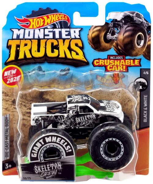 Hot Wheels Monster Trucks Black & White Skeleton Crew Diecast Car