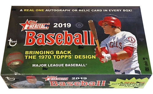 MLB Topps 2019 Heritage Baseball Trading Card HOBBY Box [24 Packs, 1 Autograph OR Relic Card]