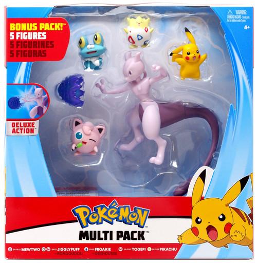 Pokemon Mewtwo, Jigglypuff, Froakie, Togepi & Pikachu Exclusive 3-Inch Multi Figure 5-Pack