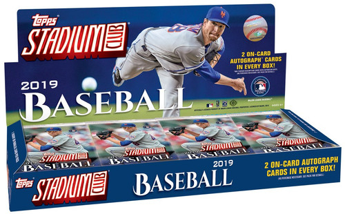 MLB Topps 2019 Stadium Club Baseball Trading Card HOBBY Box [16 Packs, 2 Autographs!]