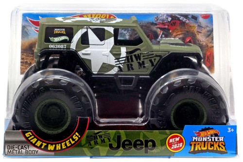 Hot Wheels Monster Trucks HW Army Jeep Diecast Car