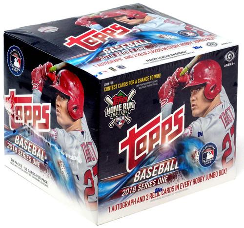 MLB Topps 2018 Series 1 Baseball Trading Card JUMBO HOBBY Box [10 packs, 1 Autograph & 2 Relic Cards!]