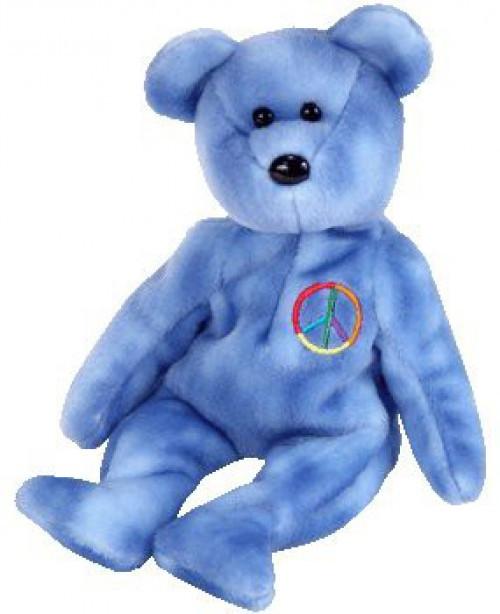 Beanie Babies Peace the Blue Bear Beanie Baby Plush