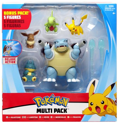 Pokemon Blastoise, Larvitar, Eevee, Munchlax & Pikachu Exclusive 3-Inch Multi Figure 5-Pack