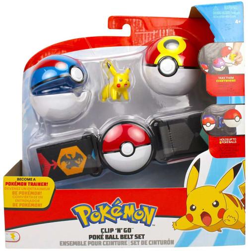 Pokemon Pikachu with Great Ball & Repeat Ball Clip 'N' Go Poke Ball Belt Set