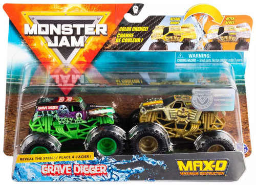 Monster Jam Reveal the Steel Grave Digger & Max-D Diecast Car 2-Pack