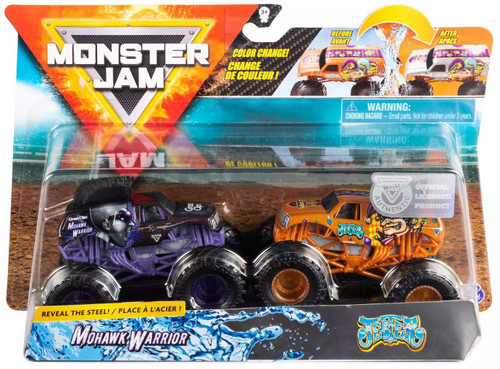 Monster Jam Reveal the Steel Mohawk Warrior & Jester Diecast Car 2-Pack