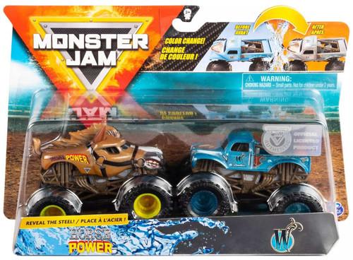 Monster Jam Reveal the Steel Horse Power & Whiplash Diecast Car 2-Pack