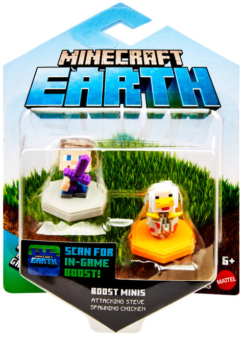 Minecraft Earth Boost Minis Attacking Steve & Spawning Chicken Figure 2-Pack [Smart NFC Chip]
