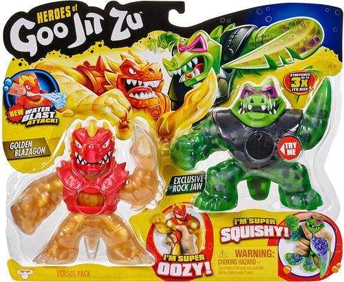 Heroes of Goo Jit Zu Golden Blazagon vs Rock Jaw Action Figure 2-Pack