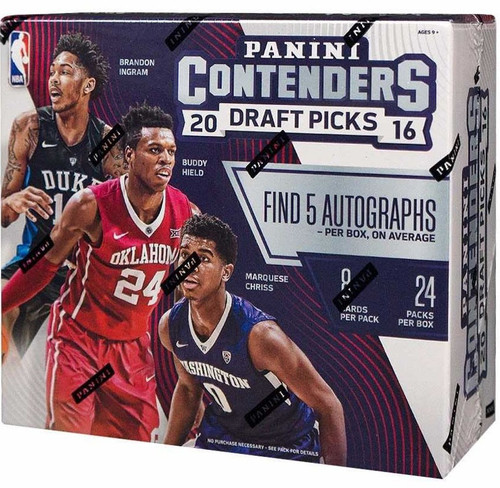 NBA Panini 2016-17 Contenders Draft Picks Basketball Trading Card HOBBY Box [24 Packs, 5 Autographs!]