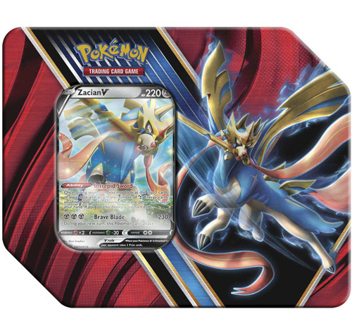Pokemon Trading Card Game Legends of Galar Zacian V Tin [5 Booster Packs & Promo Card!]