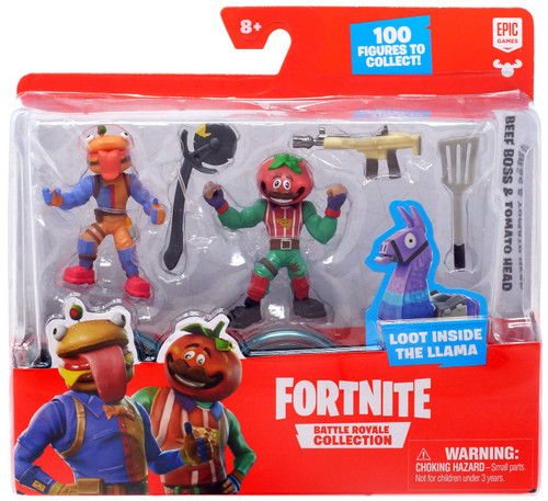 Fortnite Epic Games Battle Royale Collection Beef Boss & Tomato Head 2-Inch Mini Figure 2-Pack
