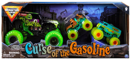 Monster Jam Curse of the Gasoline Exclusive Diecast Car 3-Pack [Grave Digger, Scooby-Doo & Mystery Machine!]