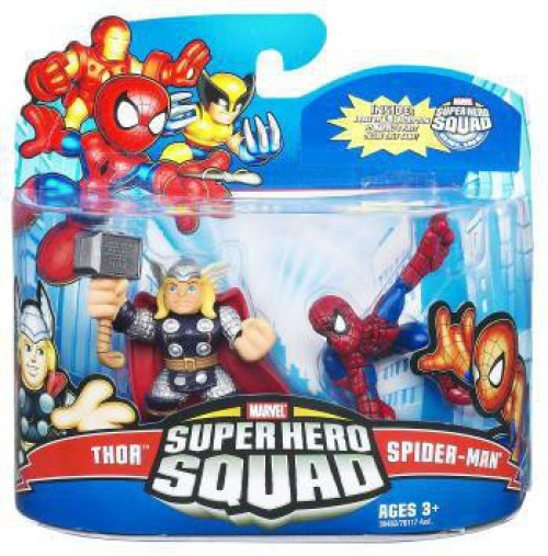 Marvel Super Hero Squad Series 21 Spider-Man & Thor 3-Inch Mini Figure 2-Pack [Damaged Package]