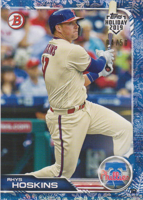 MLB Topps 2019 Holiday Rhys Hoskins Single Sports Card TH-RH [White Snow 04/50]