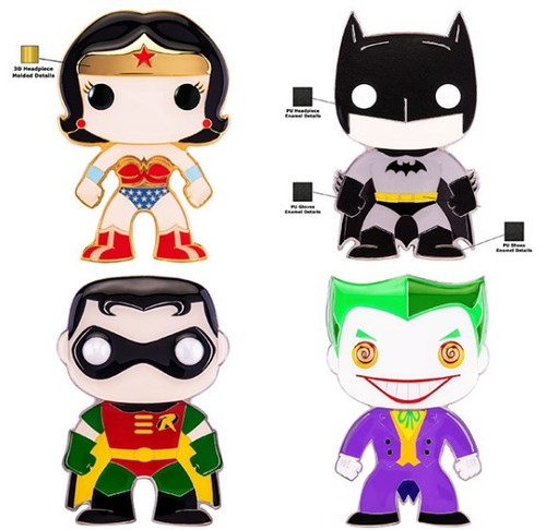 Funko DC Classic POP! Pins Batman, Robin, Wonder Woman & Joker Set of 4 Large Enamel Pins