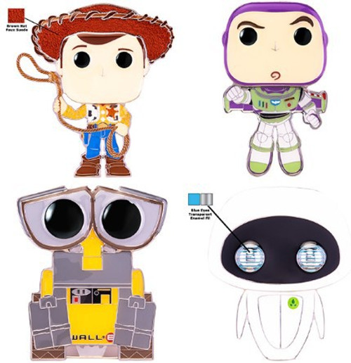 Funko Disney / Pixar POP! Pins Woody, Wall-E, Eve, Buzz & Alien Set of 4 Large Enamel Pins