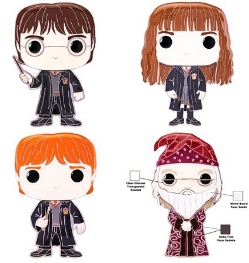 Funko POP! Pins Dumbledore, Ron Weasley, Hermione Granger & Harry Potter Set of 4 Large Enamel Pins
