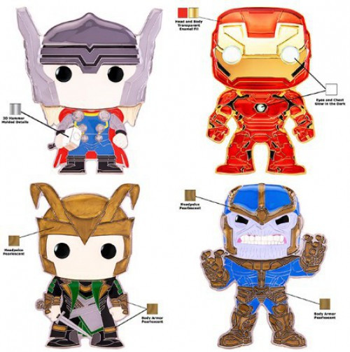 Funko Marvel POP! Pins Iron Man, Thanos, Thor & Loki Set of 4 Large Enamel Pins