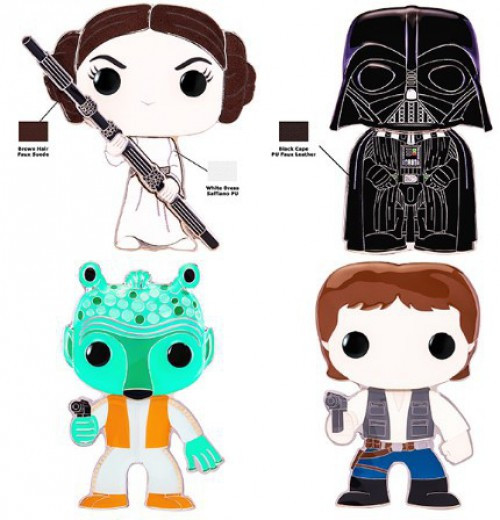 Funko Star Wars POP! Pins Princess Leia, Darth Vader, Han Solo & Greedo Set of 4 Large Enamel Pins