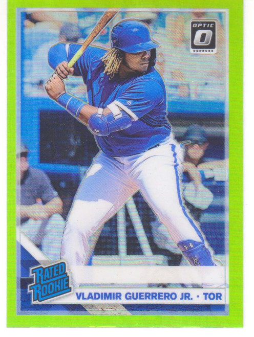 MLB 2019 Donruss Optic Baseball Vladimir Guerrero Jr. Single Sports Card #64 [Lime Green Refractor] [VF/NM]