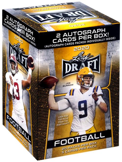 NFL Leaf 2020 Draft Football Trading Card RETAIL BLASTER Box [20 Packs, 2 Autographs]