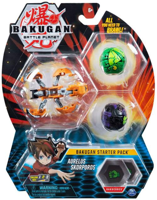 Bakugan Battle Planet Starter Pack Aurelus Skorporos 3-Figure Set