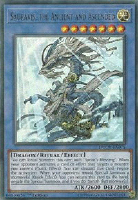 YuGiOh Duel Overload Ultra Rare Sauravis, the Ancient and Ascended DUOV-EN075
