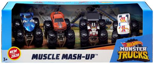 Hot Wheels Monster Trucks Muscle Mash-Up Diecast Car 4-Pack