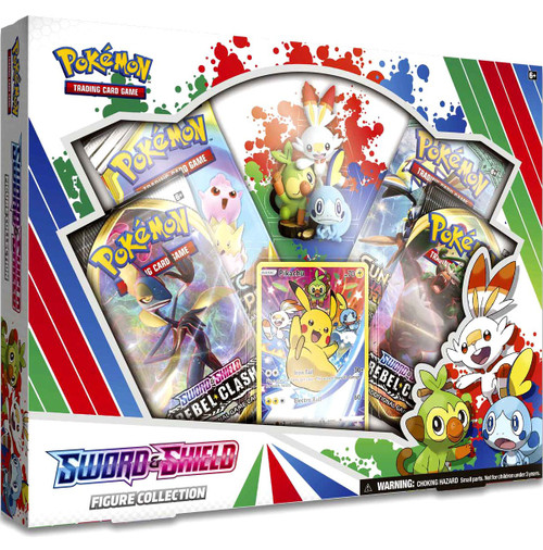 Pokemon Trading Card Game Sword & Shield Rebel Clash Grookey, Scorbunny & Sobble Figure Collection [4 Booster Packs, Figure & Promo Card!]