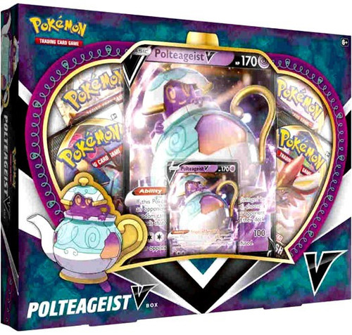 Pokemon Trading Card Game Polteageist V Box [4 Booster Packs, Promo Card & Oversize Card!]