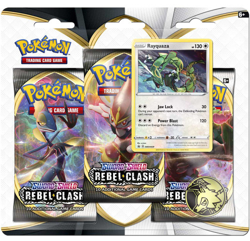 Pokemon Trading Card Game Sword & Shield Rebel Clash Rayquaza Special Edition [3 Booster Packs, Promo Card & Coin]