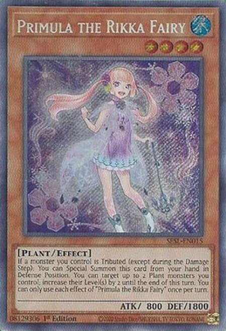 YuGiOh Secret Slayers Secret Rare Primula the Rikka Fairy SESL-EN015