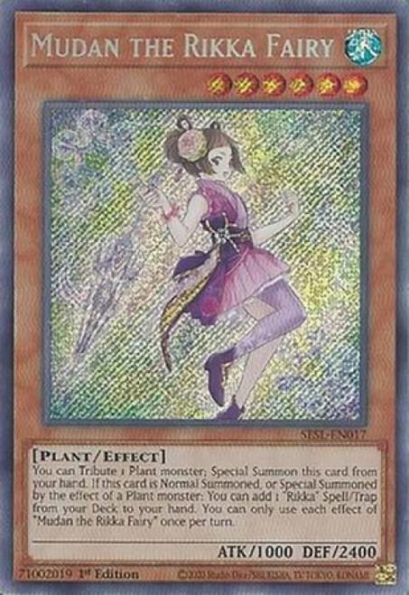 YuGiOh Secret Slayers Secret Rare Mudan the Rikka Fairy SESL-EN017