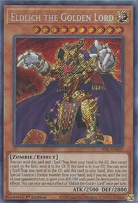 YuGiOh Secret Slayers Secret Rare Eldlich the Golden Lord SESL-EN027