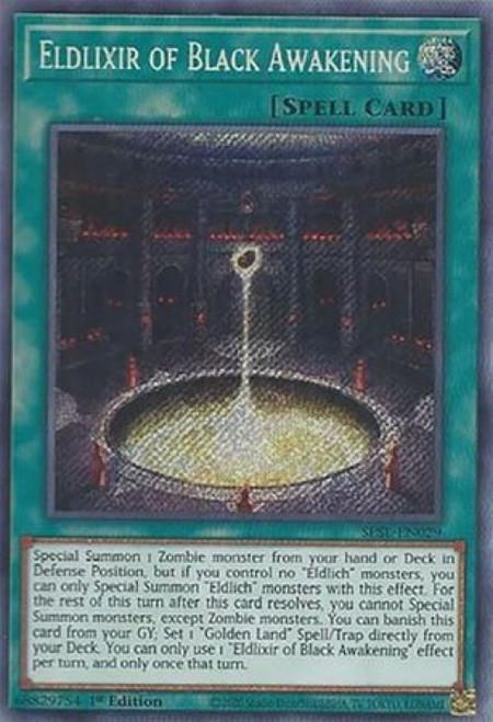 YuGiOh Secret Slayers Secret Rare Eldlixir of Black Awakening SESL-EN029